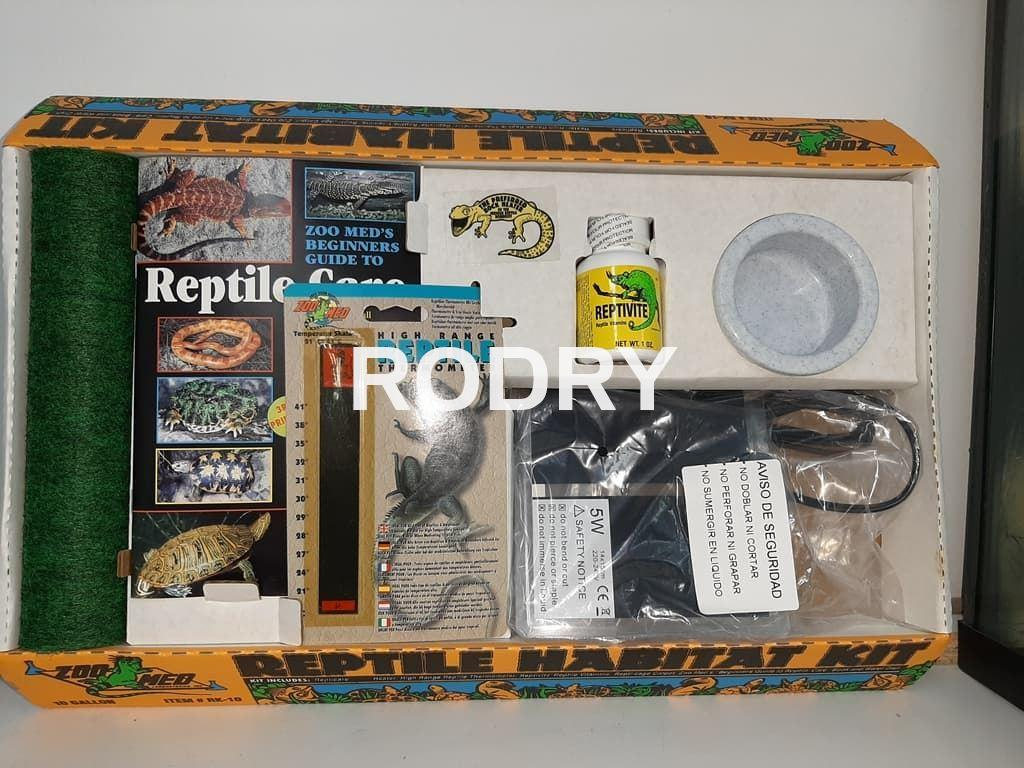 TERRARIO KIT COMPLETO REPTILES FONDO DECORADO RELIEVE - Imagen 2