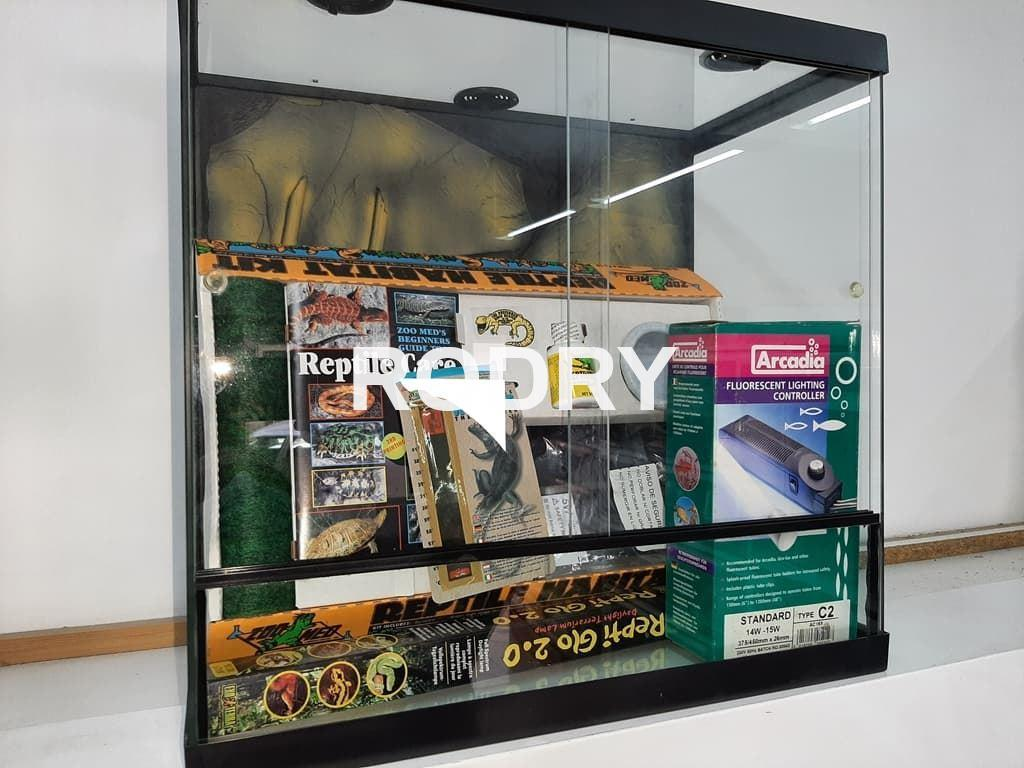 TERRARIO KIT COMPLETO REPTILES FONDO DECORADO RELIEVE - Imagen 3